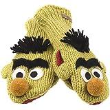 Sesame Street - Unisex-adult Sesame Street - Bert Head Knit Mittens Yellow