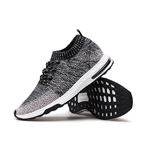 happygo! Laufschuhe Unisex Herren Damen Sportschuhe Bequeme Schnürer Sneakers Ultra Leichte Atmungsaktives Mesh Running Schuhe A-Schwarz