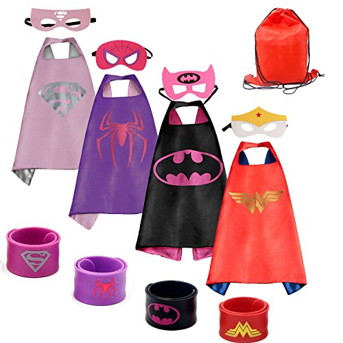 Dress up Costume Cape and Mask Set with Drawstring Backpack and Matching Shaped Rubber Wristbands for Kids, Birthday Party Children (4pcs for -