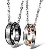 Beydodo Stainless Steel Couple Pendant Necklaces (Ring Pendant), Double Rings Eternal Love CZ,Silver