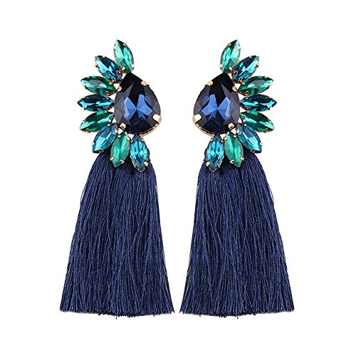 (Crystal Tassel Earrings For Women - Statement Colorful Figure Fringe Dangle Earrings For Women, Idea Gift For Sister, Wife And Friends)