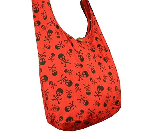 Sling in Messenger Large Skull Bag BTP Hippie Thai SK4 Crossbody Rock Cotton Punk Purse Hobo Red 0qdwOx4v