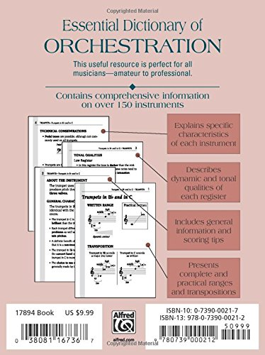 essential dictionary of orchestration pocket size book essential dictionary series