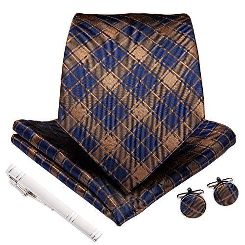 Set Silver Tone Cufflinks - DiBanGu Gold and Blue Plaid Tie and Pocket Square Set for Men Silk Necktie Handkerchief Tie Clip