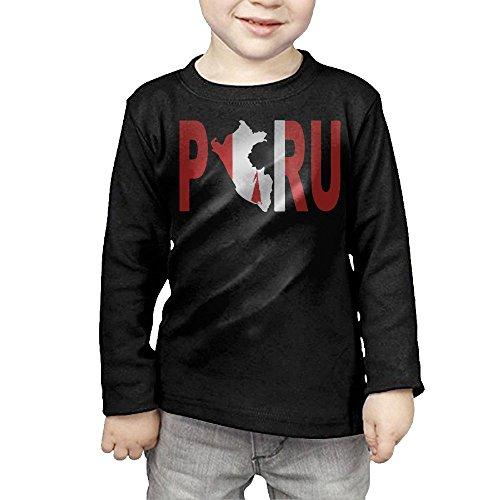 Festivals Of Kerala Christmas - PERU Peruvian Flag Novelty Toddler Long Sleeve Shirt -gift For Kids Black 4 Toddler