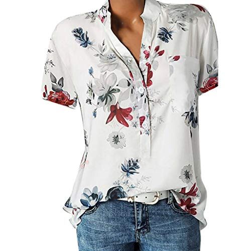 Women Vintage Top Shirt Printing Pocket Plus Size Short Sleeve Easy Blouse