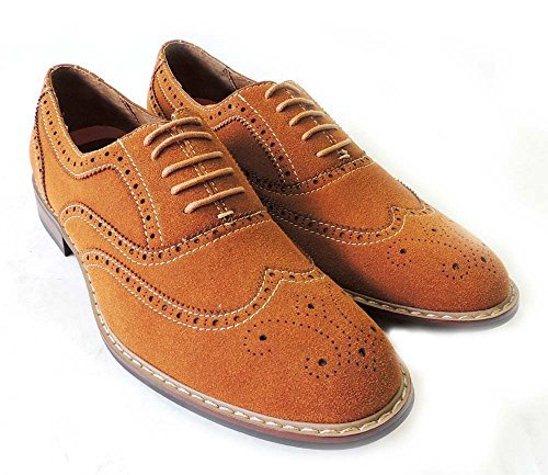 LEATHER SUEDE FASHION M139001 LINED OXFORDS SHOES UP WING DRESS FAUX LACE BROWN317 MENS TIP NEW wAnz1dqS81