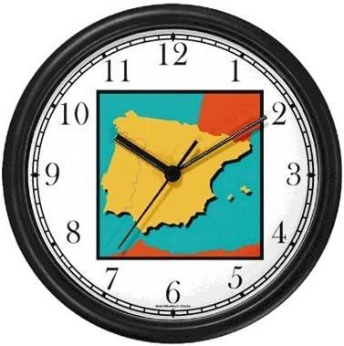 Diseño de mapa de España y Portugal de la bandera de España diseño de reloj de pared de relojes WatchBuddy (marco blanco): Amazon.es: Hogar