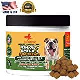 Omega Fish Oil Treats for Dogs- Salmon Oil Dog Chews to Promote Healthy Skin & Coat – Contains Omega 3 Fatty Acids & Biotin – Pet Supplement for Overall Health & Dry Skin – 120 Treats, Bacon Flavor For Sale