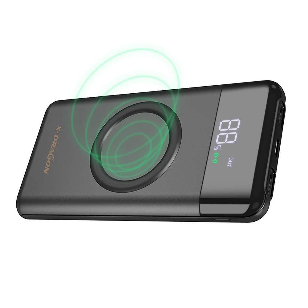 X-DRAGON Cargador Inalámbrico 10000mAh Power Bank Dual 2A (Tipo C y Micro) Batería Externa con Pantalla LCD para iPhone, Samsung, Xiaomi, Movil