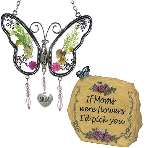 BANBERRY DESIGNS Mom Butterfly Suncatcher - Mom Message Stone Rock with Butterflies & Flowers Decorations and Mom Poem - Gifts for Her - Birthday Gifts for Mom - Mother-in-Law - Grandma
