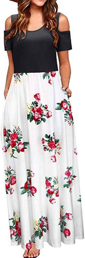 Alixyz Women Maxi Dresses Summer Short Sleeve Cold
