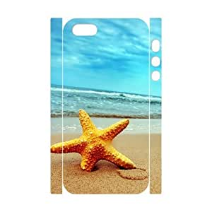 3D Starfish on the Beach Case For Sam Sung Galaxy S4 I9500 Cover Cases, [White]