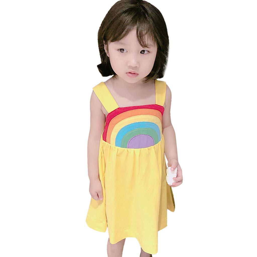 Whitegeese Toddler Kids Baby Girl Rainbow Princess Strap Casual Dress Sundress Summer