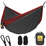 Automotive : Wise Owl Outfitters Hammock for Camping Single & Double Hammocks Gear For The Outdoors Backpacking Survival or Travel - Portable Lightweight Parachute Nylon DO Charcoal & Red