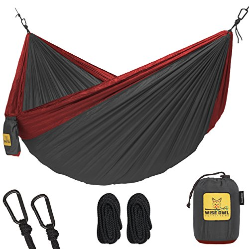 Hammock For Camping Single   Double Hammocks   Top Rated Best Quality Gear For The Outdoors Backpacking Survival Or Travel   Portable Lightweight Parachute Nylon Do Charcoal   Red