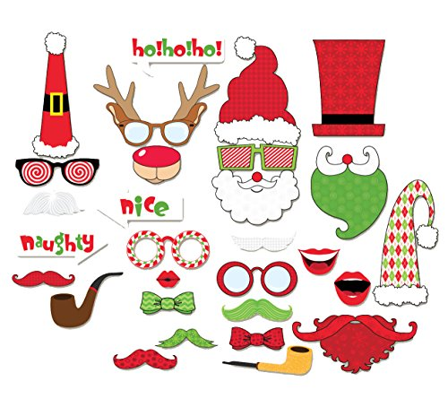 Happy Christmas Photo Booth Props Sticks 29 Pieces, Holiday Day Decoration Santa for Party Supplies - DIY REQUIRED