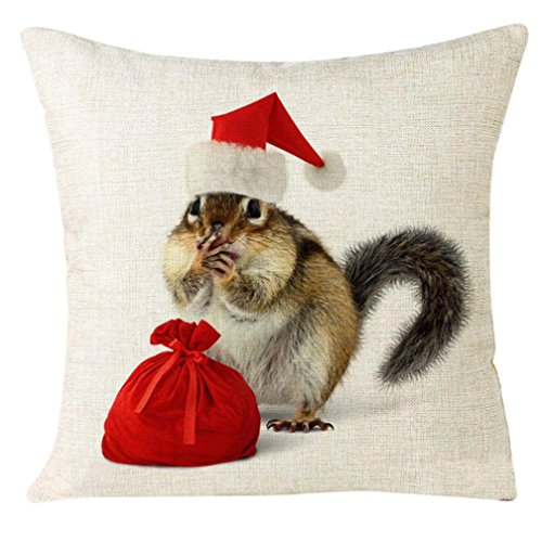 Price comparison product image Pillowcase, Bestpriceam Xmas Christmas Cat Animal Cotton Linen Square Decorative Throw Pillow Case Cushion Cover (H)