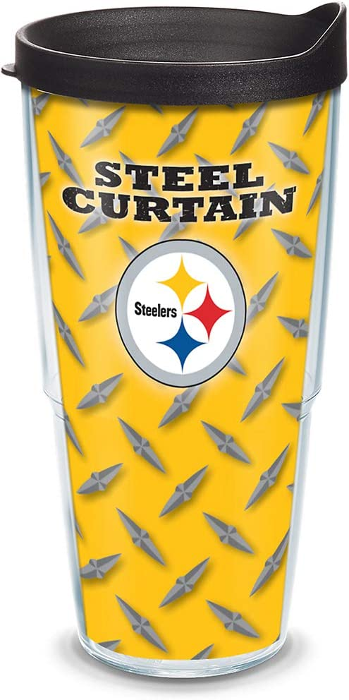 Tervis NFL Pittsburgh Steelers Steel Curtain Tumbler with Wrap and Black Lid 24oz, Clear