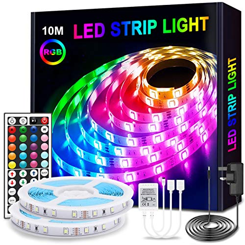 Anmossi LED Strip Lights 10m(32.8Ft),RGB Colour Changing Strip Light with Remote,Bright 5050 LEDs Rope Light Strips Kit,Multi-Colour LED Lights for Bedroom,Home,Kitchen,Christmas Decoration(2x5m)