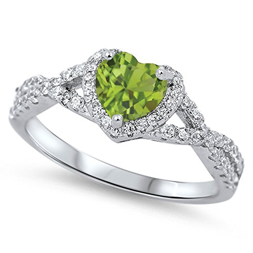 Genuine Ring Peridot Stone (925 Sterling Silver Faceted Natural Genuine Green Peridot Heart Halo Promise Ring Size 6)