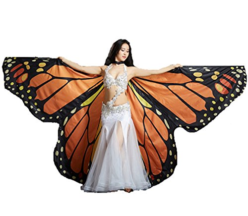 DEMON BABY Performance Adult's Orange Butterfly Belly Dance Isis Wings Halloween (Not Contain -