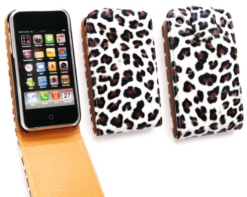 Emartbuy Apple iPhone 3G / 3GS Premium-PU-Leder Flip Case / Cover / Tasche Leopard-Druck-Gloss White And LCD displayschutz