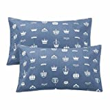 """LIFEREVO 100% Cotton Crown Print 2 Pack Toddler Pillowcases Envelope Style Closure for Pillow Size 13""""x18"""" and 14""""x19"""" (Blue)"""