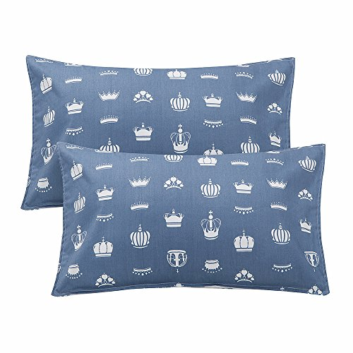 """LIFEREVO 100% Cotton Toddler Pillowcases Set of 2 - Crown Print Envelope Closure End - Fits Kids Bedding Pillow Sized 13""""x18"""", 14""""x19"""", Blue from LIFEREVO"""