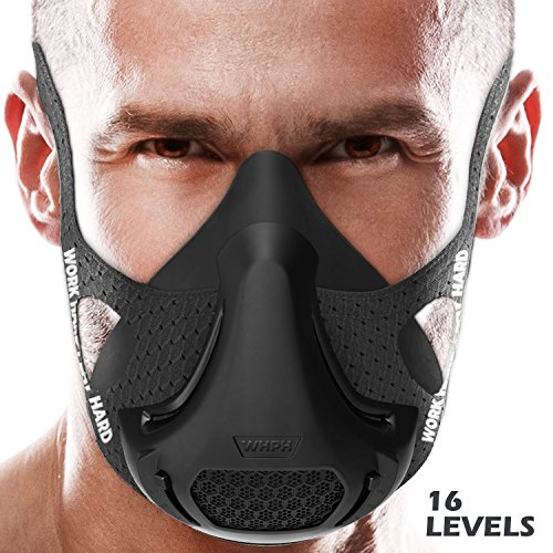 Workout Mask | Training Mask High Altitude Running Peak Resistance Breathing Oxygen Sport Fitness Cardio Endurance Gym Jogging Exercise Men Women Adult Elevation Simulation HIIT Trainer (Black)