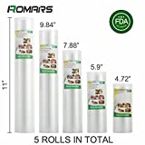 5 Rolls of Romars 4 mil Commercial Grade Vacuum Sealer Bags - Make Your Own Size Bag! - for Foodsaver, Seal-A-Meal, plus other machines ((4.72''+5.9''+7.88''+9.84''+11'') X16.4')