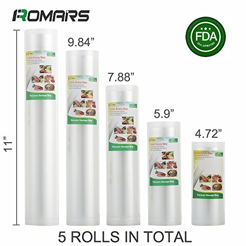 5 Rolls of Romars 4 mil Commercial Grade Vacuum Sealer Bags - Make Your Own Size Bag! - for Foodsaver, Seal-A-Meal, plus other machines ((4.72''+5.9''+7.88''+9.84''+11'') X16.4') by atRomars