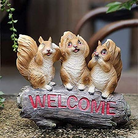 Estatuas para jardín Tres Ardillas Escultura De Resina Impermeable Jardín Esculturas Para El Patio Del Césped Del Paisaje Del Jardín Artesanía Regalo De Los Ornamentos Squirrel sculpture-22.5*8*19CM: Amazon.es: Hogar