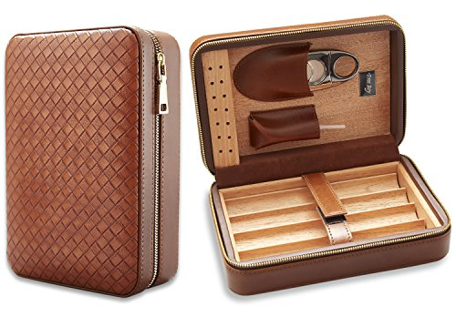 Free Boy Travel Cigar Humidor, Cedar Wood Cigar Case, Portable Cigar Box with Humidifier, Cigar Cutter and Pouch - Case Soft Partition