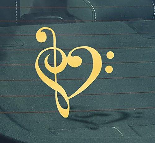 BASS TREBLE CLEF HEART Vinyl Decal Sticker Car Window Wall Bumper Love Music