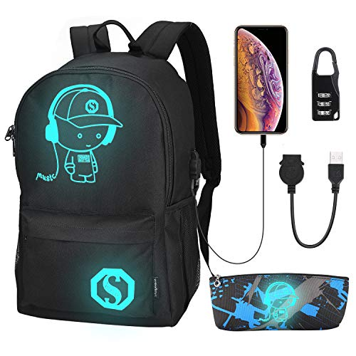Anime Luminous Backpack Laptop Backpack with USB Charging Port College School Bookbag