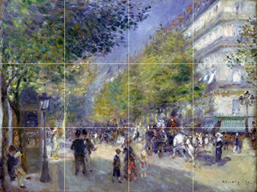 Tile Mural Cityscape French the Grands Boulevards trees people by Pierre-Auguste Renoir Kitchen Bathroom Shower Wall Backsplash Splashback 4x3 4.25