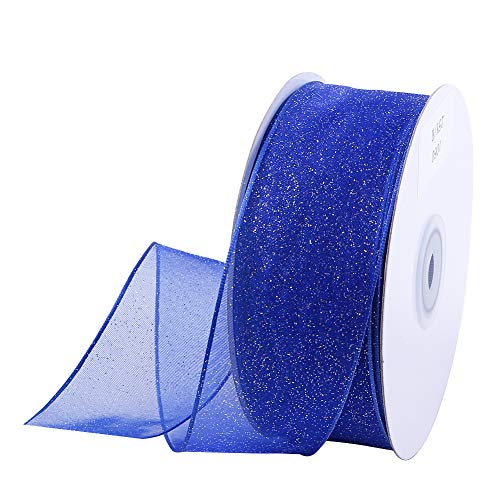 "Wired Christmas Ribbon 25 Yards 1-1/2"" Sheer Organza Glitter Crafts Gift Wrapping Festive Ribbons Christmas Design Decorations (Glitter Blue)"