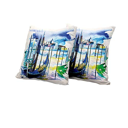 All of better futon Cushion Cover Landscape,A View with Boat in Venice Italy Landmark Seascape Scenic Watercolor Paint,Blue Purple Green Square Euro Sham Cushion Cover 24x24 INCH 2pcs