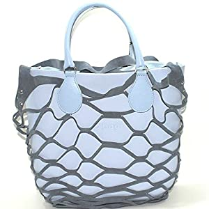 Borsa o bag mini sky way con manico corto azzurro sacca con zip e bordo in rete (K) 34