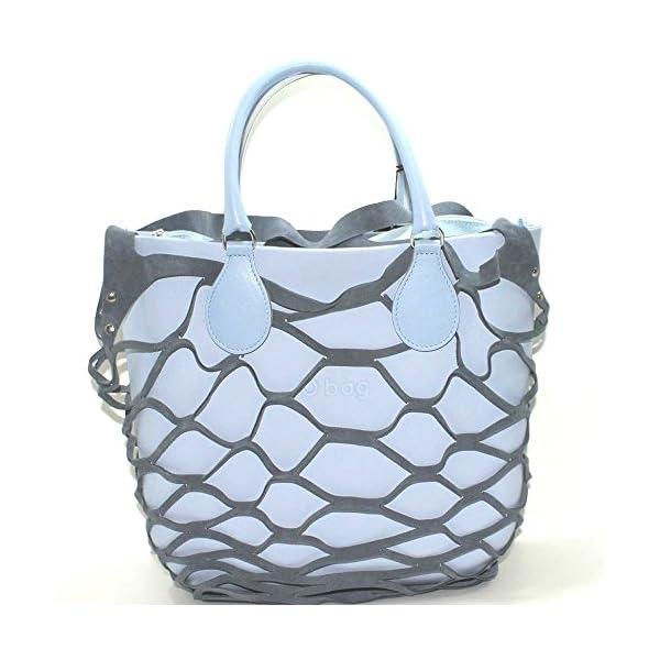 Borsa o bag mini sky way con manico corto azzurro sacca con zip e bordo in rete (K) 1