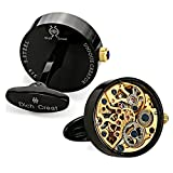 Dich Creat Men's Stainless Steel Black PVD Working Movement Cufflinks Covered with Glass