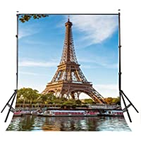 Lyly County 5×7ft Polyester Photography Backdrop Blue Sky White Clouds Paris Eiffel Tower Photo Studio Landscape Background PB007