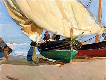 Lienzo 90 x 70 cm: Fishing, anchored boats, Valencia. de Joaquín Sorolla y Bastida / ARTOTHEK - cuadro terminado, cuadro sobre bastidor, lámina terminada sobre lienzo auténtico, impresión en lienzo...