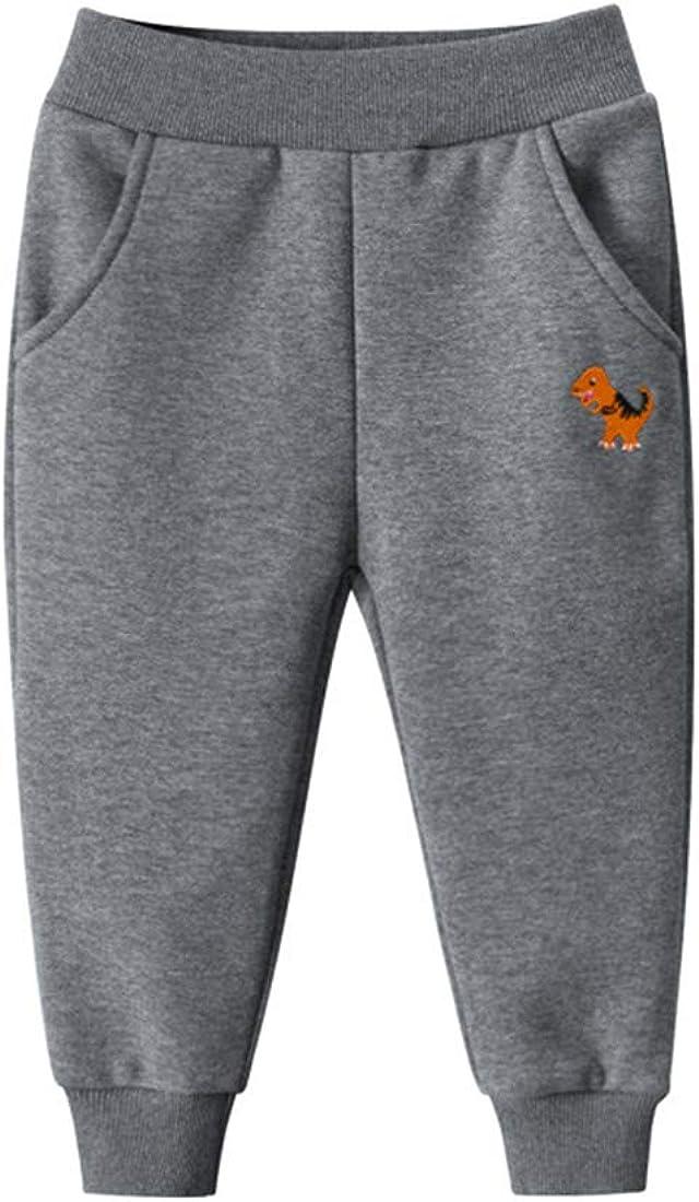 PAUBOLI Pantalones de ch/ándal con Forro Polar para beb/é con dise/ño de Dinosaurio 2T-8T