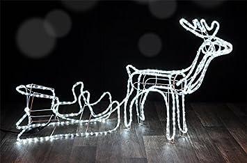 3d Weihnachtsbeleuchtung.Mq 3d Rentier Mit Schlitten Lichtschlauch Lichterkette Weihnachtsbeleuchtung Außen Innen