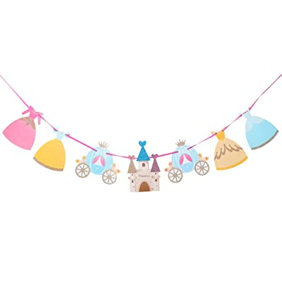 Amosfun 2 Set Princess Banner Castle Bunting Banner Garland For Girl Princess Birthday Party Baby Shower Decoration: Toys & Games