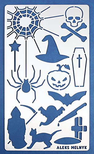 Aleks Melnyk 17 Bullet Journal Stencil Metal/Halloween Day Punisher/Stainless Steel Planner Stencils Journal/Notebook/Scrapbooking/Crafting/DIY Drawing Template (Halloween Pumpkin Stencils Witch)