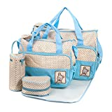 Baby Diaper Bag Tote Bags 5pc Set, Light Blue