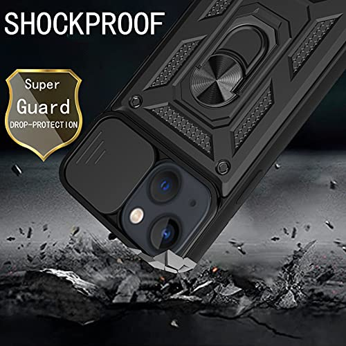 HAMGEEN for iPhone 13 Case Heavy Duty Camera Protective Shell Dual Layer Shockproof Cover with Slide Camera Protector Non-Slip Bumper with Ring Kickstand Case Compatible with iPhone 13 6.1inches Black